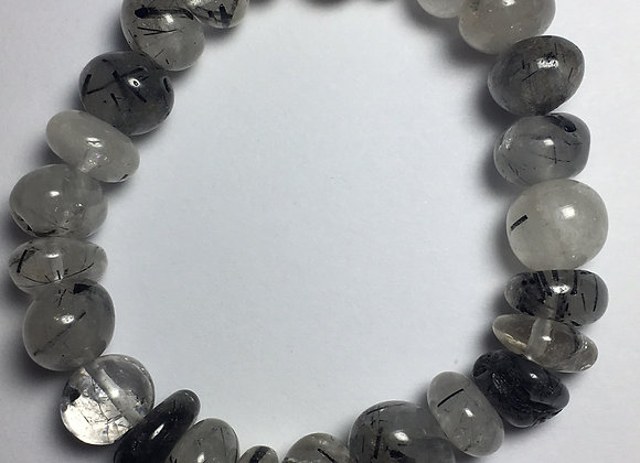 Tourmaline Quartz Gemstone Bracelet - Large Bead