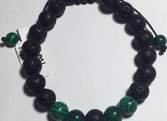 Green and Lava Bead Essential Oil Diffuser Adjustable Bracelet