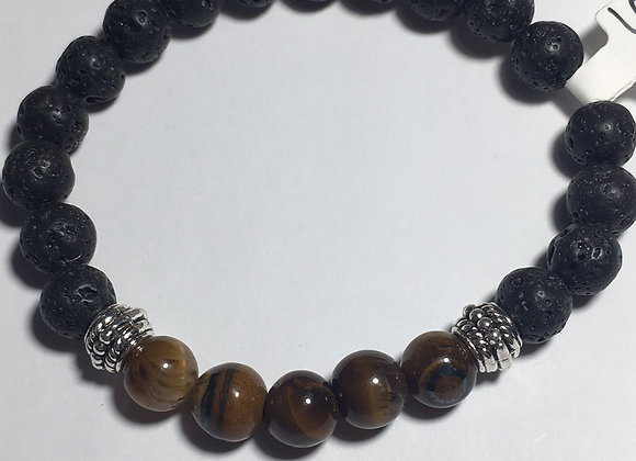 Tigers Eye Lava Bead Essential Oil Diffuser Bracelet