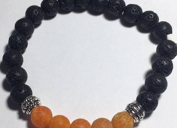 Orange and Lava Bead Essential Oil Diffuser Bracelet