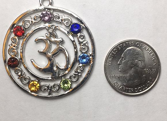 Om Symbol Circle Chakra Pendant
