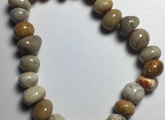 Fossilized Coral Gemstone Bracelet - Large Bead CFLB