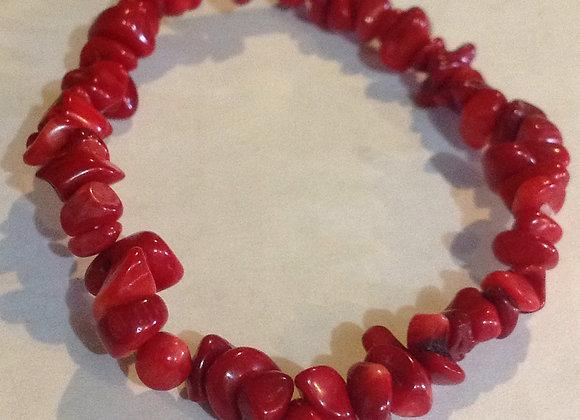 Red Coral Gemstone Chip Bracelet
