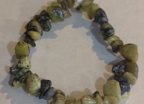 Serpentine Gemstone Chip Bracelet