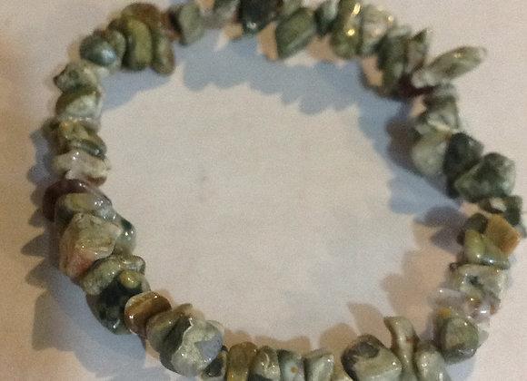 Rainforest Jasper Gemstone Chip Bracelet