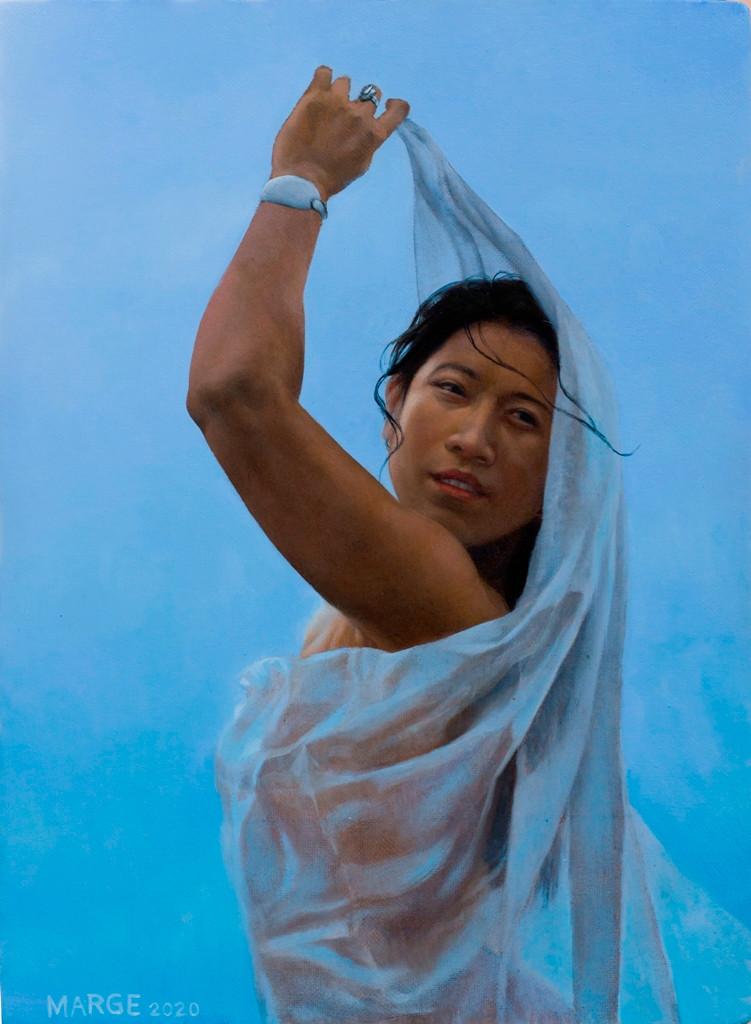 Woman holding a drapery