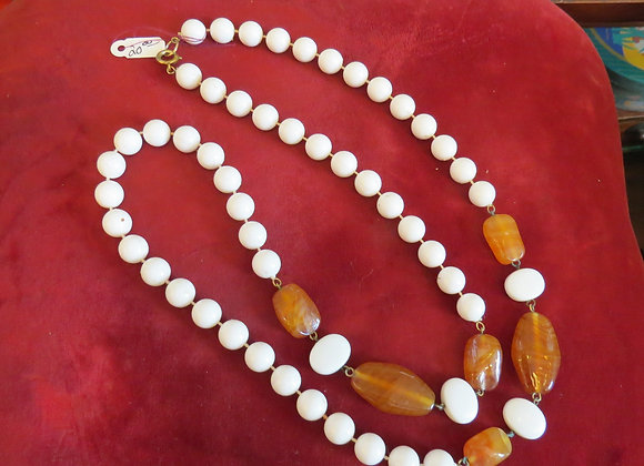White and Amber Necklace