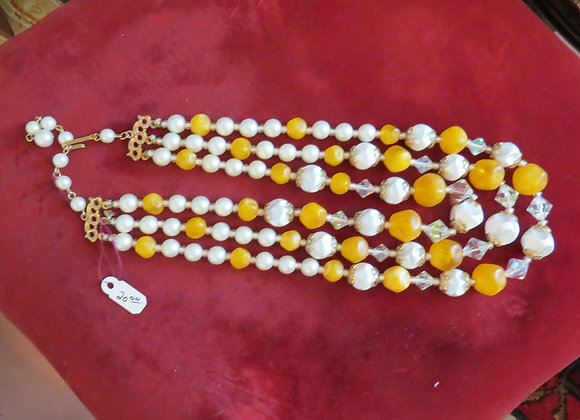 Light Orange and White Necklace