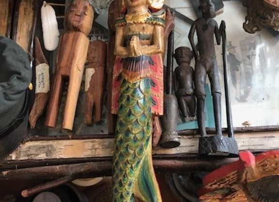 Goddess Mermaid Carved Wood Hanging