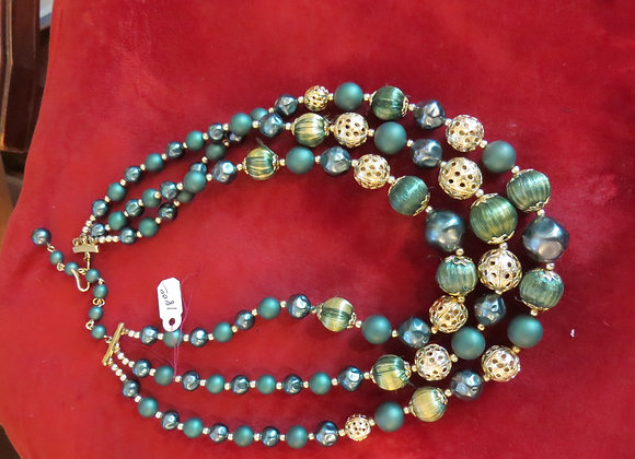 Dark Green and Gold Necklace
