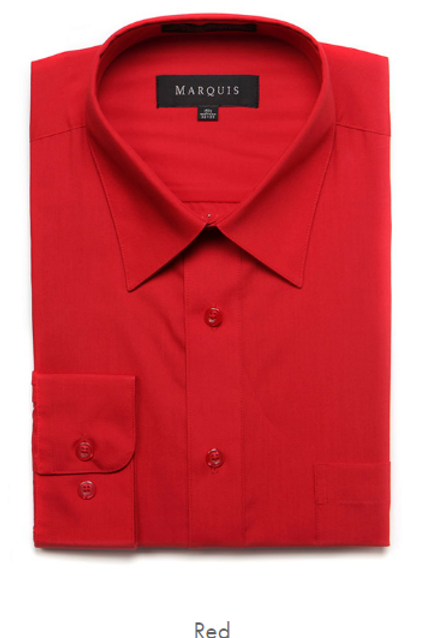Marquis Solid Classic Fit Dress Shirt - RED