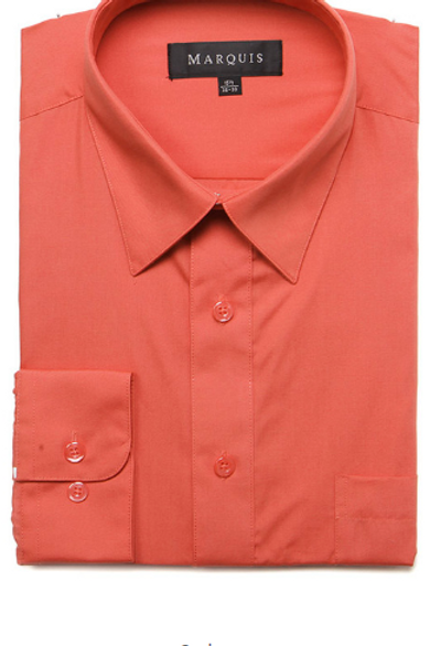 Marquis Solid Classic Fit Dress Shirt - SALMON