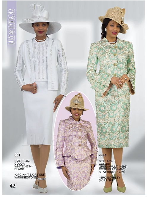 Lily & Taylor 3pc Novelty Skirt Suit #651 and #4441