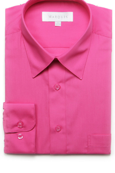 Marquis Solid Classic Fit Dress Shirt - FUSCHIA