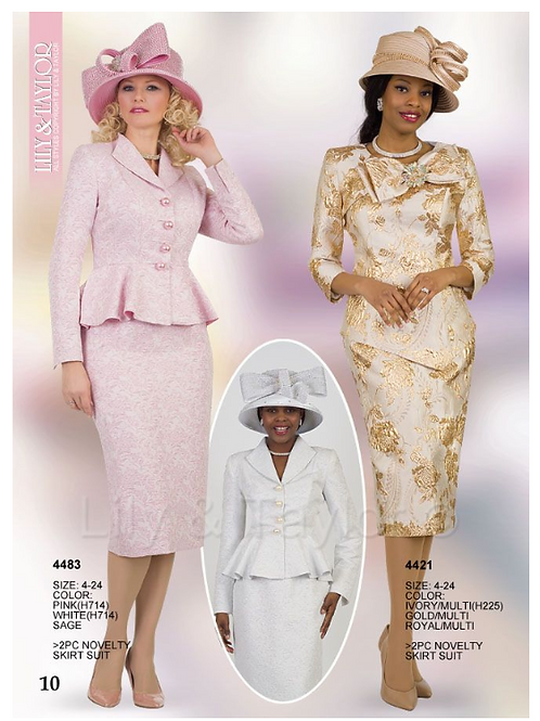 Lily & Taylor 3pc Novelty Skirt Suit #4483 and #4421