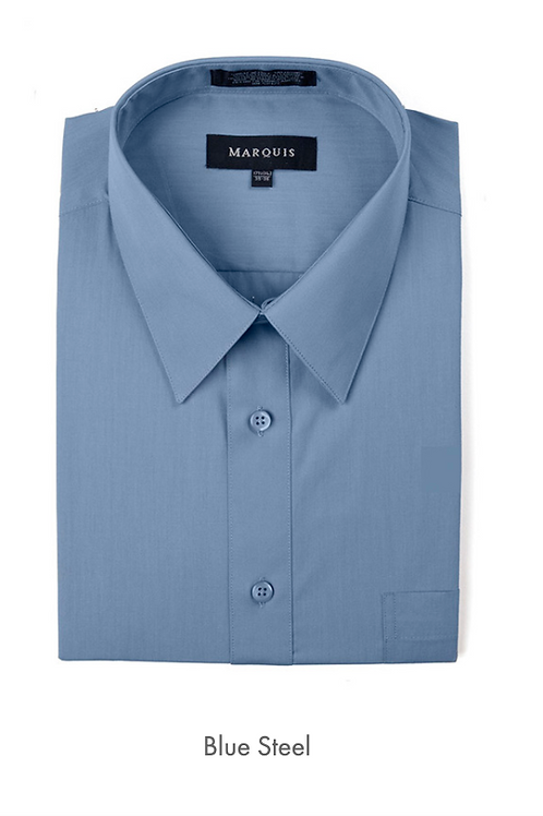 Marquis Solid Classic Fit Dress Shirt - BLUE STEEL