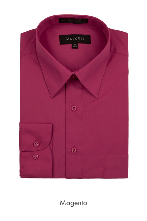 Marquis Solid Classic Fit Dress Shirt - MAGENTA