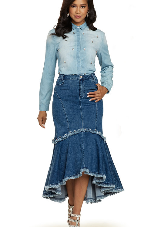 Donna Vinci #8441 Blue Jean Skirt