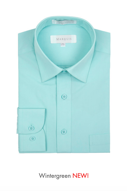 Marquis Solid Classic Fit Dress Shirt -WINTERGREEN