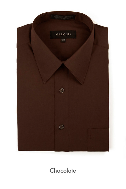 Marquis Solid Classic Fit Dress Shirt - CHOCOLATE