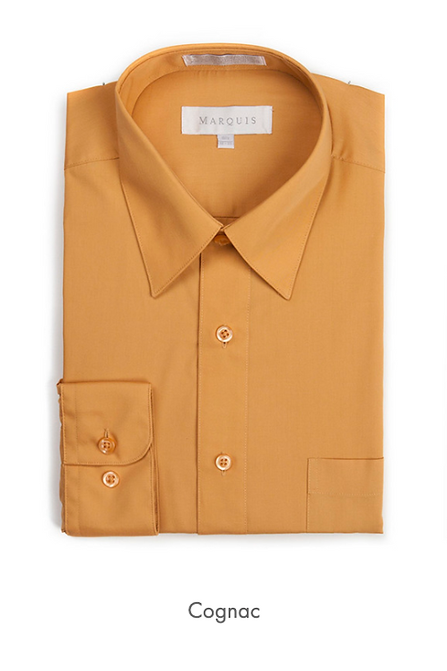 Marquis Solid Classic Fit Dress Shirt - COGNAC