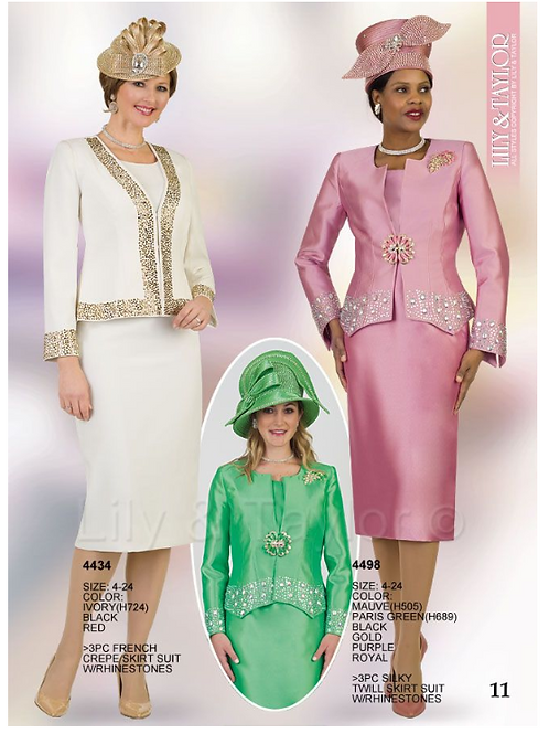 Lily & Taylor 3pc Novelty Skirt Suit #4434 and #4498