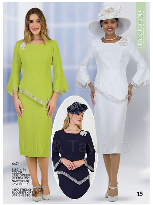Lily & Taylor 2pc Novelty Skirt Suit #4471
