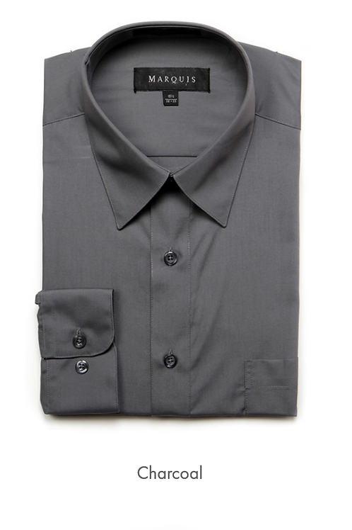Marquis Solid Classic Fit Dress Shirt - CHARCOAL