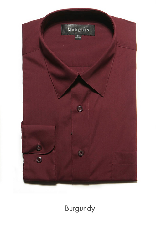 Marquis Solid Classic Fit Dress Shirt - BURGUNDY