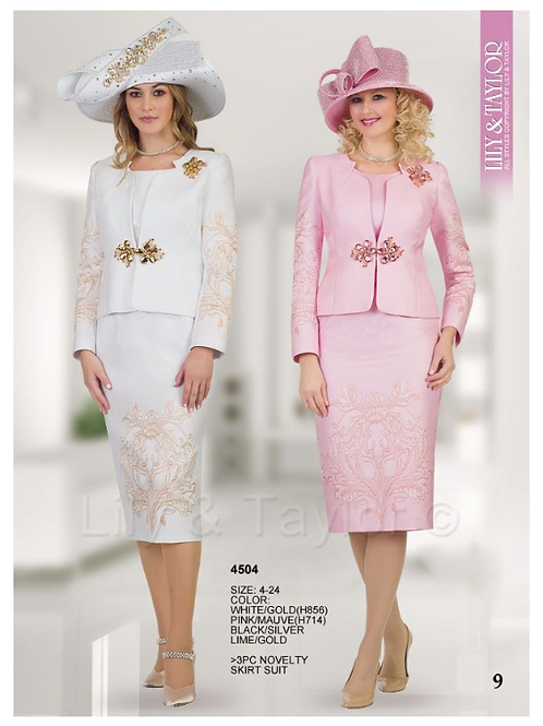 Lily & Taylor 3pc Novelty Skirt Suit #4504