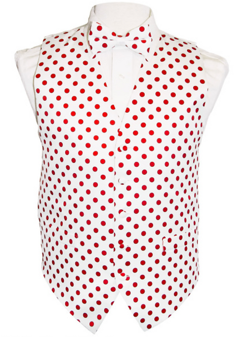 Vest Set Polka Dot - WHITE/RED