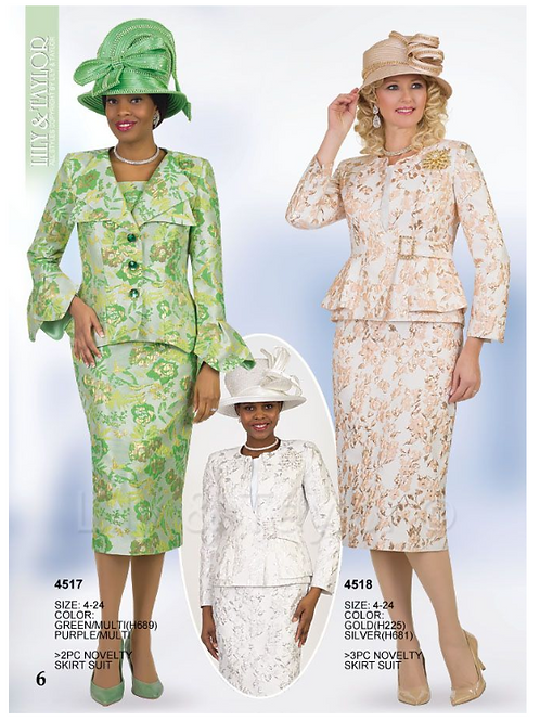Lily & Taylor 3pc Novelty Skirt Suit #4517 and #4518