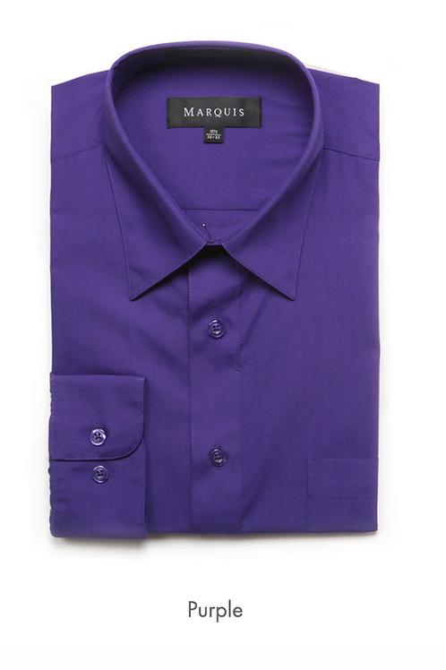 Marquis Solid Classic Fit Dress Shirt - PURPLE