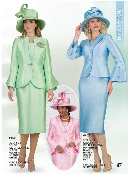 Lily & Taylor 3pc Novelty Skirt Suit #4140 and #4452