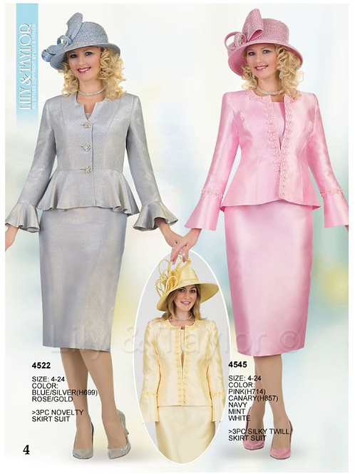 Lily & Taylor 3pc Novelty Skirt Suit #4522 and #4545