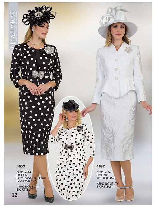Lily & Taylor 3pc Novelty Skirt Suit #4503 and #4532