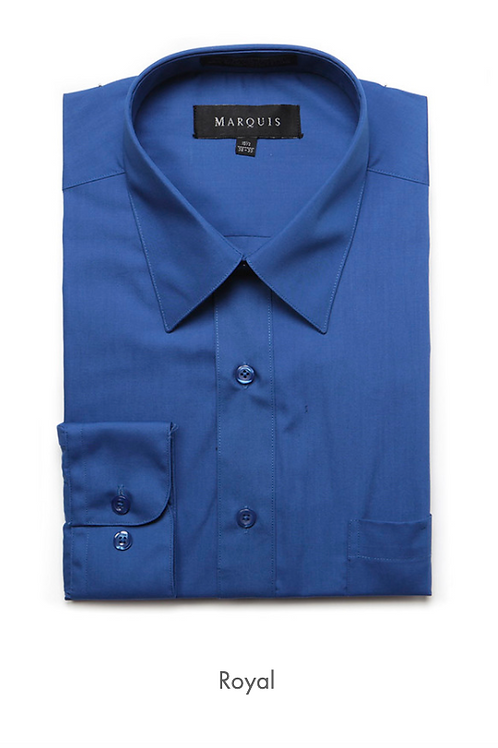 Marquis Solid Classic Fit Dress Shirt - ROYAL