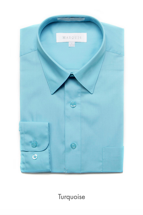 Marquis Solid Classic Fit Dress Shirt - TURQUOISE