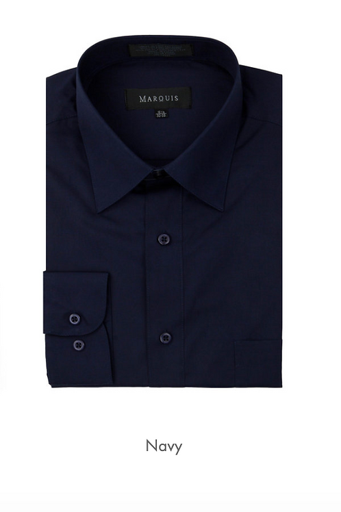 Marquis Solid Classic Fit Dress Shirt - NAVY
