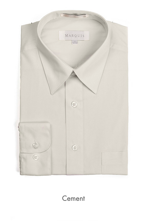 Marquis Solid Classic Fit Dress Shirt - CEMENT