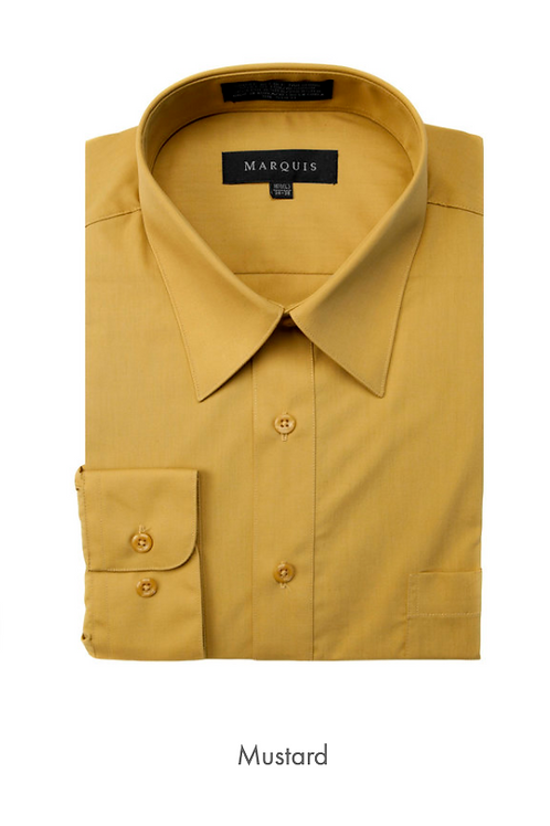Marquis Solid Classic Fit Dress Shirt - MUSTARD