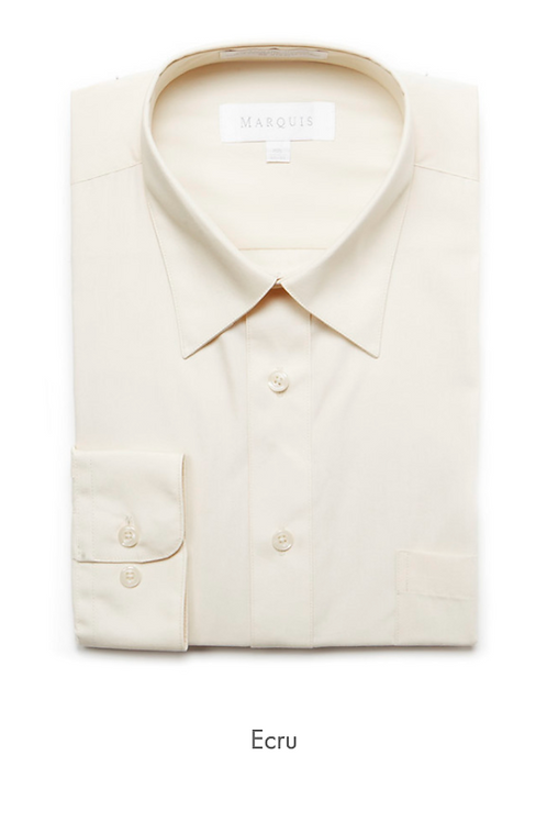 Marquis Solid Classic Fit Dress Shirt - ECRU