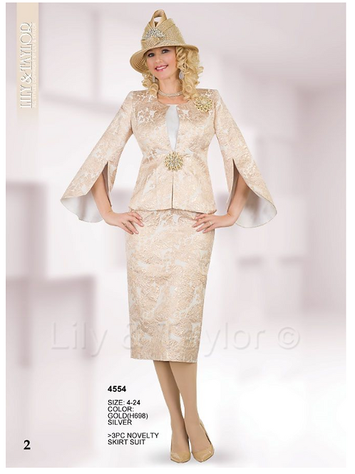 Lily & Taylor 3pc Novelty Skirt Suit #4554
