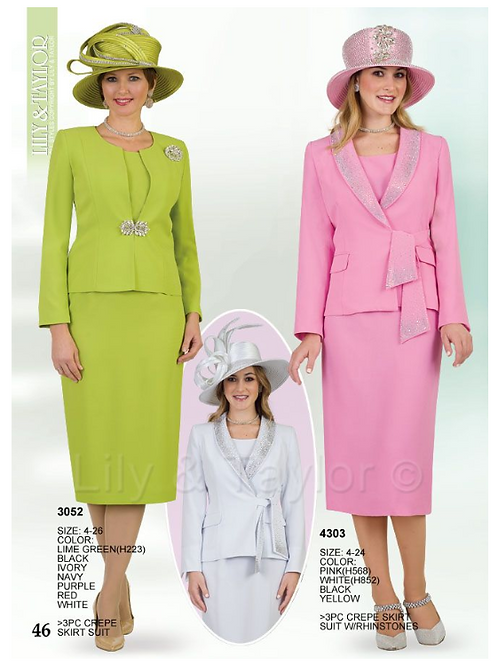 Lily & Taylor 3pc Novelty Skirt Suit #3052 and #4303