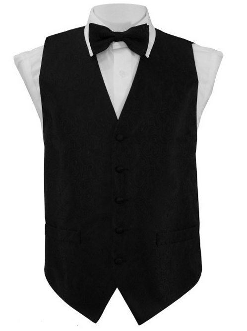 Vest Set Paisley - BLACK