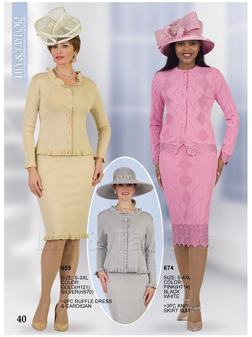 Lily & Taylor 3pc Novelty Skirt Suit #659 and #674