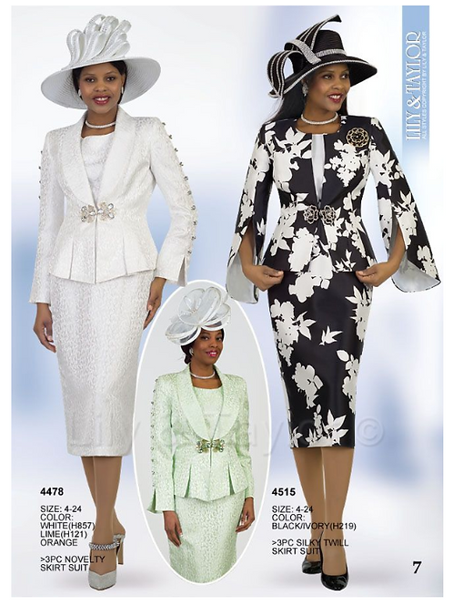 Lily & Taylor 3pc Novelty Skirt Suit #4478 and #4515