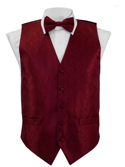 Vest Set Paisley - BURGUNDY