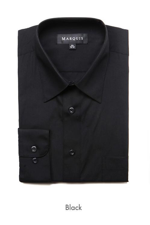 Marquis Solid Classic Fit Dress Shirt - BLACK