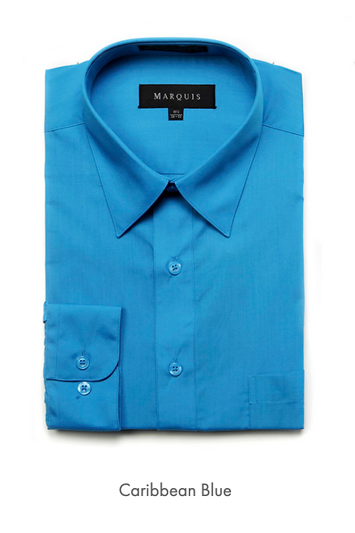 Marquis Solid Classic Fit Dress Shirt - CARIBBEAN BLUE